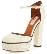 Valentino Garavani Woven Platform Ankle-Strap Pump, Light Ivory