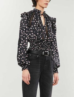 The Kooples Sport Floral-print satin-crepe blouse