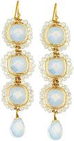 Panacea Crystal Linear Statement Dangle Earrings, White