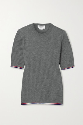 Thom Browne Grosgrain-trimmed Ribbed Wool-blend T-shirt - Gray