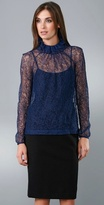 Ruffle Neck Long Sleeve Lace Shirt