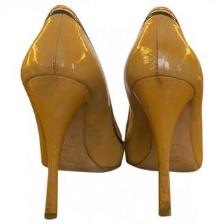 Prada Gold Patent leather Heels