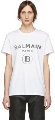 Balmain White Tagged Logo T-Shirt