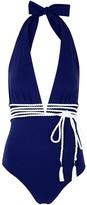 Emma Pake Lucia Navy Plunge Swimsuit