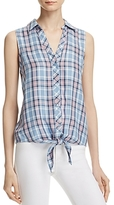 Soft Joie Creta Sleeveless Plaid Tied Waist Shirt - 100% Exclusive