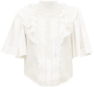 Isabel Marant Ioleya Pompom-trim Crinkled Cotton-blend Blouse - Womens - White