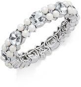 Charter Club Silver-Tone Imitation Pearl and Crystal Stretch Bracelet, Only at Macy's