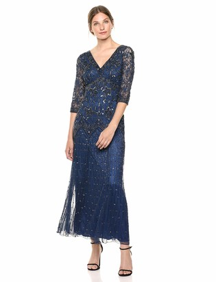 Pisarro Nights Women's Long Dress with Boat Neck and Beaded Motif