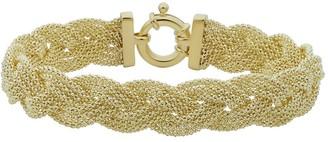 Fremada 14k Yellow Gold Braided Trople Popcorn Chain Bracelet