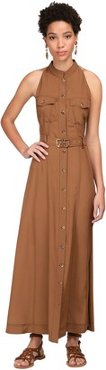 Alberta Ferretti Buttoned Crepe De Chine Midi Dress