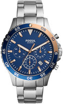 Fossil Men's Chronograph Crewmaster Stainless Steel Bracelet Watch 46mm CH3059