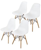 Buschman Set of Four (4) White Mid Century Modern Dining Room Chairs - Eames Style Chair Which Combines Incomparable Quality And Style