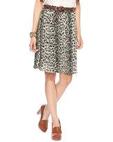 Leopard Print Pleat Skirt