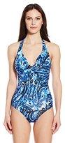 Badgley Mischka Women's Casbah Twist Bra Maillot One Piece Swimsuit