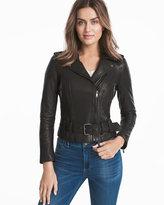 White House Black Market Black Leather Moto Jacket