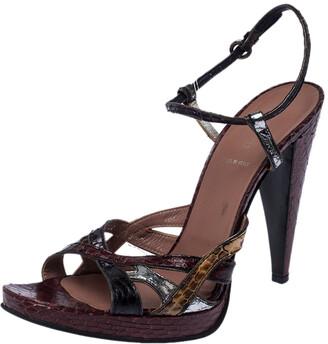 Miu Miu Multicolor Python Strappy Open Toe Ankle Strap Sandals Size 39.5