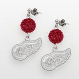 Logoart LogoArt Detroit Red Wings Sterling Silver Crystal Ball Drop Earrings