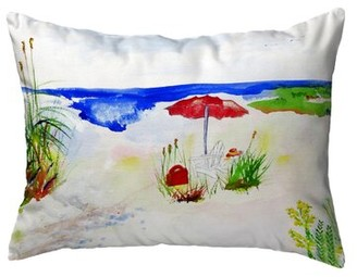 Betsy Drake Interiors Beach Umbrella Indoor/Outdoor Lumbar Pillow