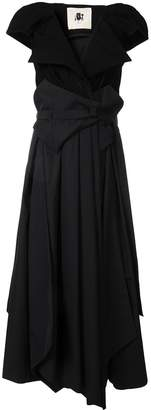 aganovich belted layered dress