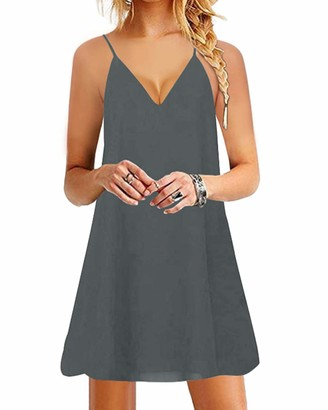 YOINS Women Sleeveless Spaghetti Strap Mini Dress Sexy Solid Dress V Neck Beach Dress Beachwear Sundresses Black M