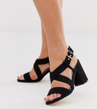 Park Lane wide fit buckle strap heeled sandal in black