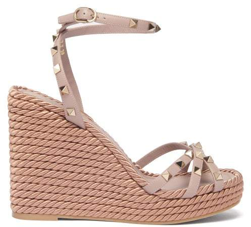 Womens Rockstud Torchon Leather Nude Sandals Wedge HIED92