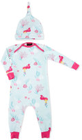 BedHead Jersey Mermaid Coverall w/ Hat, Aqua, Size 3-24 Months