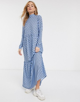 Asos DESIGN long sleeve tiered maxi dress in blue spot
