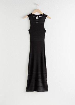 And other stories Stripe Micro Knit Midi Dress