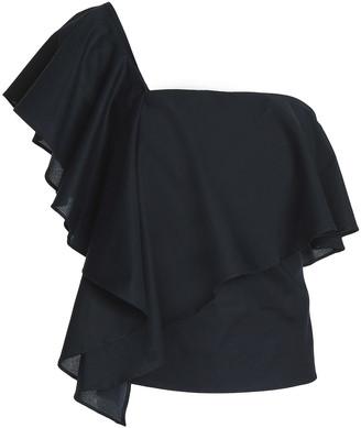 Milly Cascade One-shoulder Ruffled Cotton-poplin Top