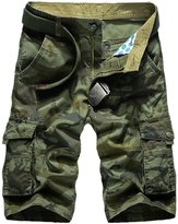 Panegy Men's Bermudas Loose Fit Ripstop Multi Pockets Camouflage Cargo Shorts Tag Size 38 - Army Green
