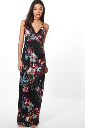 boohoo Tall Dark Floral Maxi Dress
