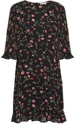 Ganni Elm Ruffle-trimmed Polka-dot Crepe De Chine Mini Dress