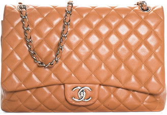 Chanel Tan Quilted Caviar Leather Classic Maxi Double Flap Bag