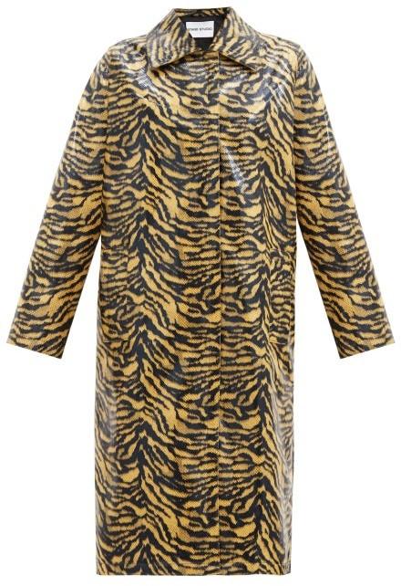 Stand Studio Elyssa Zebra-print Patent Faux-leather Coat - Black Yellow