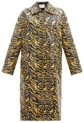Stand Studio Elyssa Zebra-print Patent Faux-leather Coat - Black Yellow