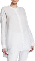 Eileen Fisher Band-Collar Button-Down Long-Sleeve Handkerchief Linen Shirt