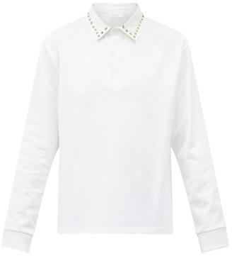 Valentino Rockstud Cotton-pique Long-sleeved Polo Shirt - White