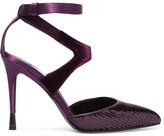 Tom Ford Sequined Satin And Velvet Pumps - Dark purple