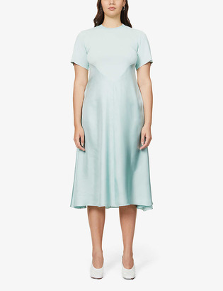 Sportmax Elettra silk-satin and knitted midi dress