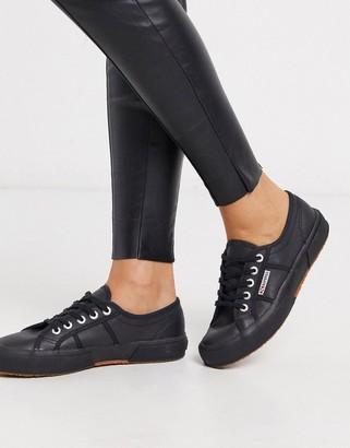 Superga 2750 classic leather plimsolls in black