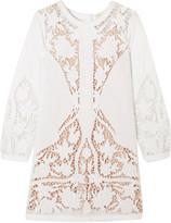 Maje Juniper guipure lace-paneled embroidered cotton-poplin mini dress