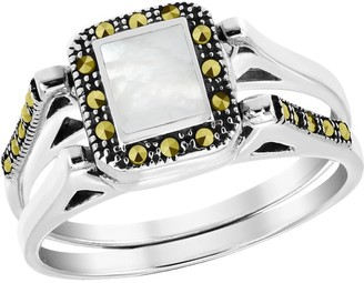 Aeravida Handmade Vintage Rectangular Sea Shell Marcasite Embed Sterling Silver Double Band Ring