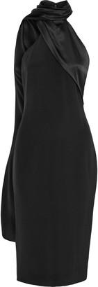 Cushnie Draped Satin-paneled Silk Crepe De Chine Dress