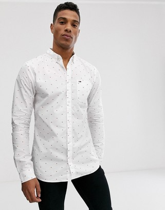 Tommy Jeans dobby long sleeve shirt-White