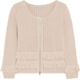 Autumn Cashmere Fringed-Trimmed Open-Knit Cotton Jacket
