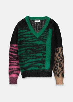 Essentiel Antwerp Tribolobis MULTICOLOURED LEOPARD AND ZEBRA PRINT V-NECK KNITTED SWEATER - xs | green | purple, black - Green/Green