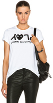 Comme des Garcons Jersey Black Print Tee in White.