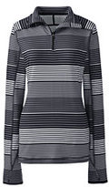 Lands' End Women's Tall Active Half-zip Pullover-Black Stripe