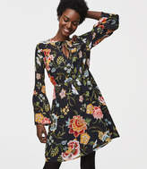LOFT Tall Poppy Bloom Tie Neck Bell Sleeve Dress